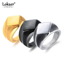 Lokaer Retro Punk Smooth Rhombus Signet แหวนผู้ชายสแตน(China)