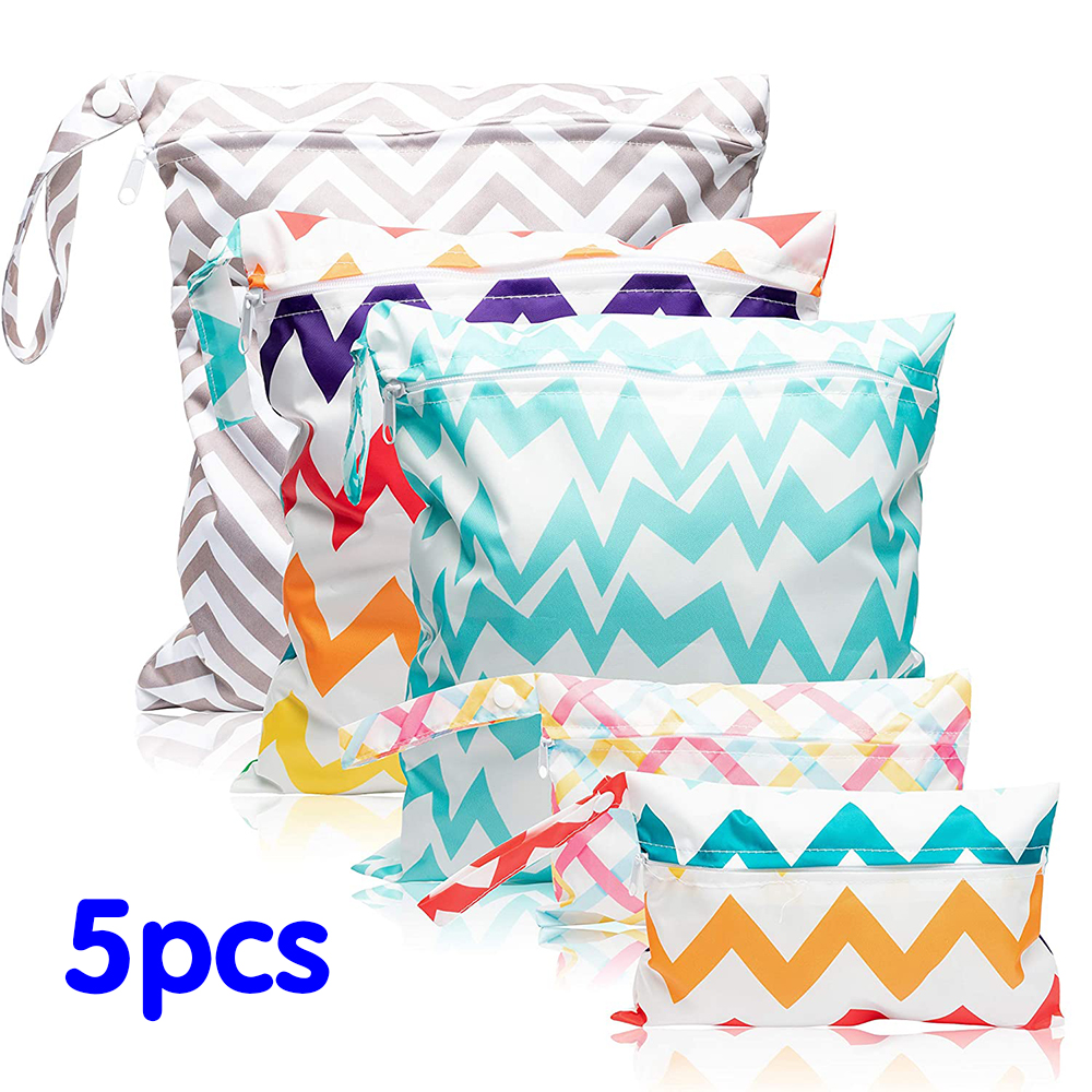 5Pcs Cloth Diaper Wet Dry Bags Waterproof Reusable Wet Dry Diaper Baby Cloth Bags with Zippered Pockets Stripe Pattern (3 Sizes)
