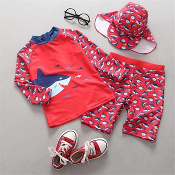 Stroje kąpielowe dla dzieci Baby Cartoon Red Shark stroje kąpielowe z nadrukiem dla chłopców 2020 z długim rękawem 2 sztuka ochrona przed słońcem szybkoschnący strój do surfingu tanie i dobre opinie City Threads Chłopcy Pasuje prawda na wymiar weź swój normalny rozmiar CTRG19TT Poliester Kids Rash Guard Swimwear Natural Color