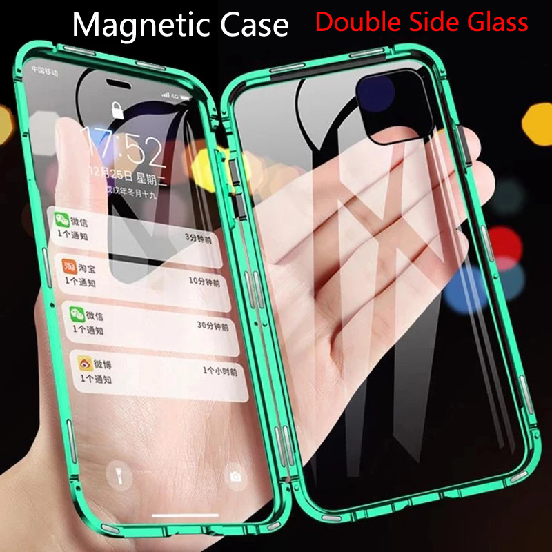 Двухсторонний стеклянный магнитный металлический чехол для iPhone 12 11 Pro XS Max X XR 7 8 Plus SE 2020