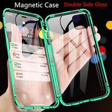 Caixa de metal de vidro dupla face adsorção magnética para iphone 12 11 pro xs max x xr 7 8 plus se 2020 coque funda