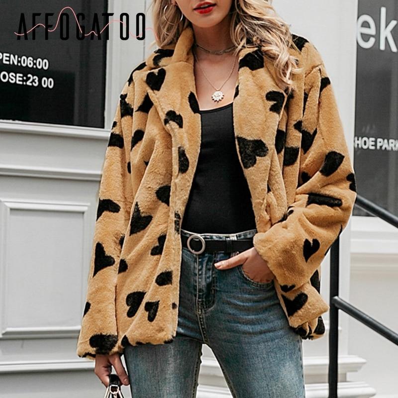 Affogatoo Vintage Faux Fur Warm Coat Women Casual Autumn Winter Soft Heart Fluffy Fur Jacket Elegant Female Lapel Furry Overcoat