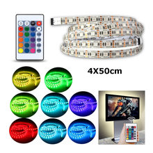 CLAITE 4PCS 50cm SMD 5050 USB RGB LED Strip 5V 60LEDs/m IP20 USB Bar TV Backlight Kit With Remote Controller USB Powered Cable(China)