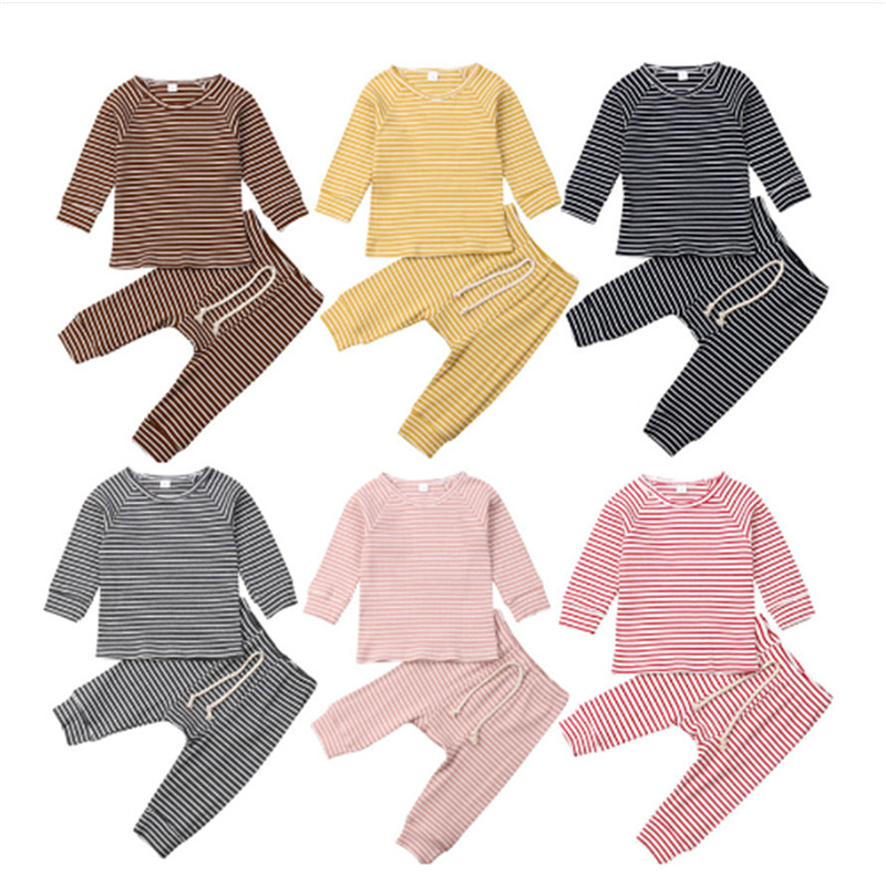 Baby Spring Autumn Clothing Infant Kids Baby Girls Boys Striped Cotton Clothes 2pcs Sets Pullover Tops Shirts Pants