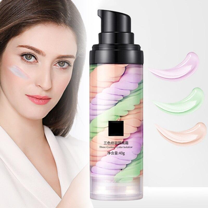 Основа для макияжа Rainbow трехцветная, база для лица, полное покрытие, осветляет кожу, праймер KG66