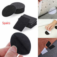 5 Pairs Double-Sided Fixed Magic Sticky Self Adhesive Hook Loop Round Pads Craft Tape Bedclothes Sofa Carpet Non-slip Holder Hot