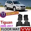 Кожаные автомобильные коврики на заказ для Volkswagen VW Tiguan 2008 ~ 2017  5 мест  автомобильные коврики для ног  аксессуары для ковров  2009  2010  2011  2012