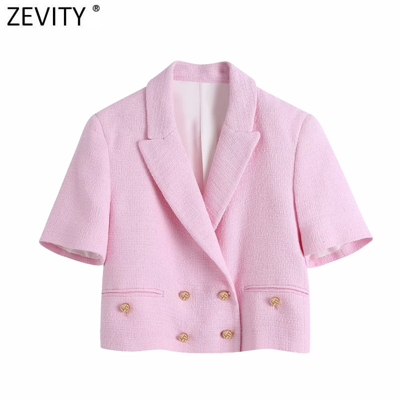 Zevity Women Sweet Double Breasted Notched Collar Pink Tweed Woolen Short Blazer Coat Vintage Female Outerwear Chic Tops CT681