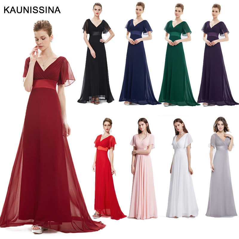 KAUNISSINA Evening Dresses Padded Flutter Sleeve Long Women Party Gown Chiffon A line Vestido Special Occasion Dresses