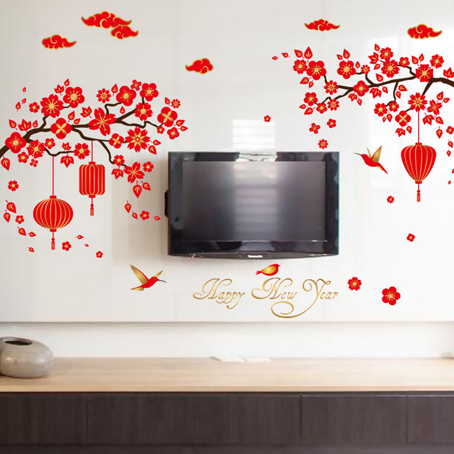DIY Wall Stickers Removable Red Lanterns Lunar New Year Decorative Art Decals Wallpaper For Home Living Room Decors