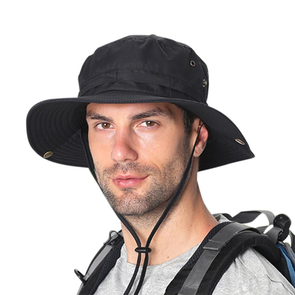 New Bucket Hat Water Resistant Quick Drying Adjustable Sunshade Outdoor Fisherman Cap With Chin String For Fishing Climbing 2020