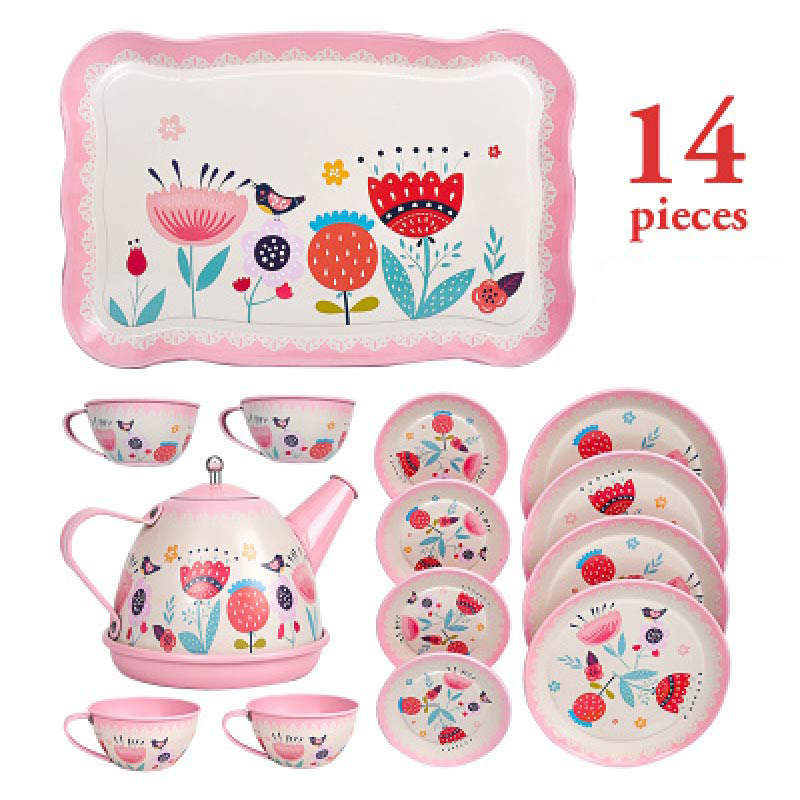 14PCS Teapot Teacup British Style Afternoon Tea Tinplate Toys  Kids Kitchen Kids Tea Set Toys Pretend Play Toys For Girl
