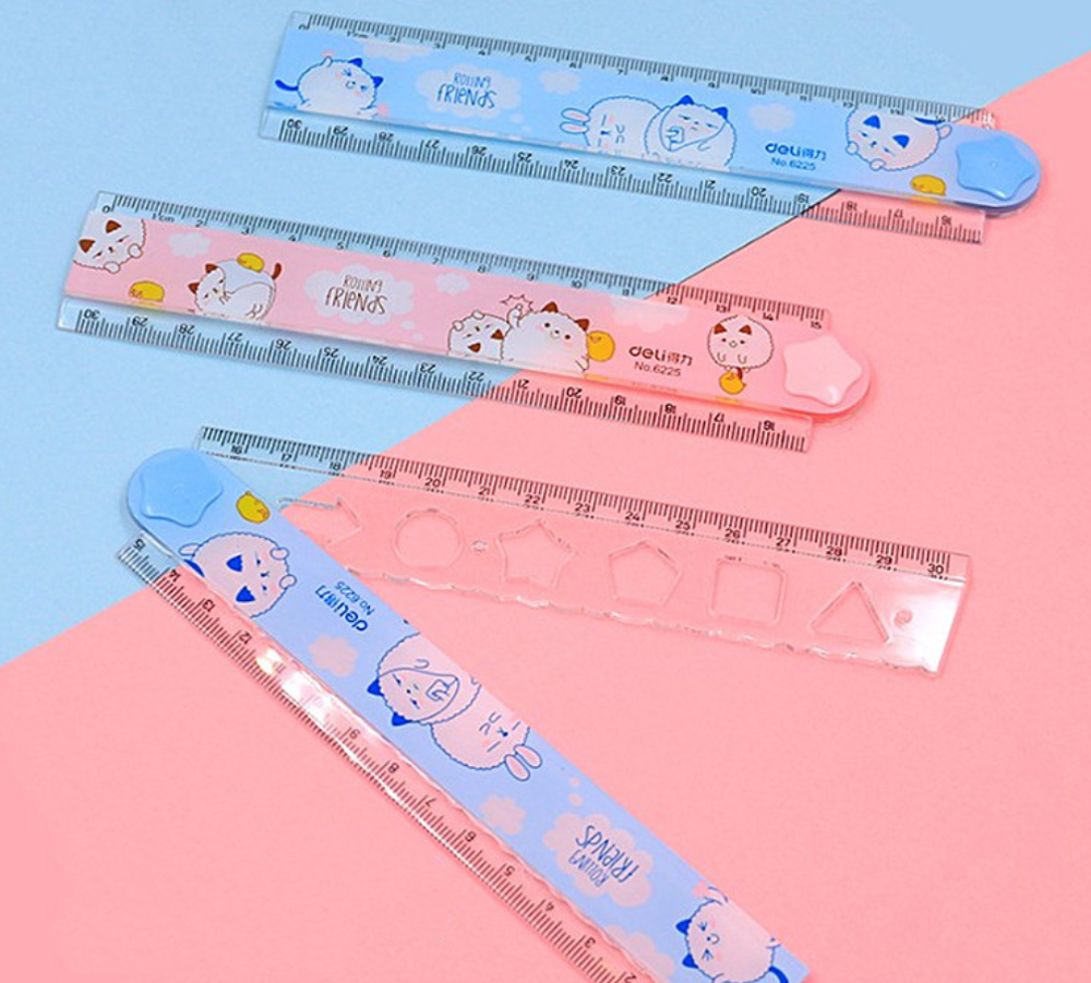 30CM Cute Kawaii Folding Ruler Multifunction DIY Drawing Rulers For Kids Students Office School Stationery Accessory Lineal Tool