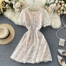 YuooMuoo Sexy V Neck Buttons Women Summer Lace Dress Short Sleeve A-line Sundres