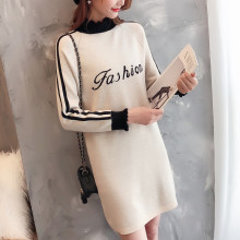Women Half Turtleneck Letter Knitted Work Dress Autumn 2019 Winter Black Print Striped Sweater White Female