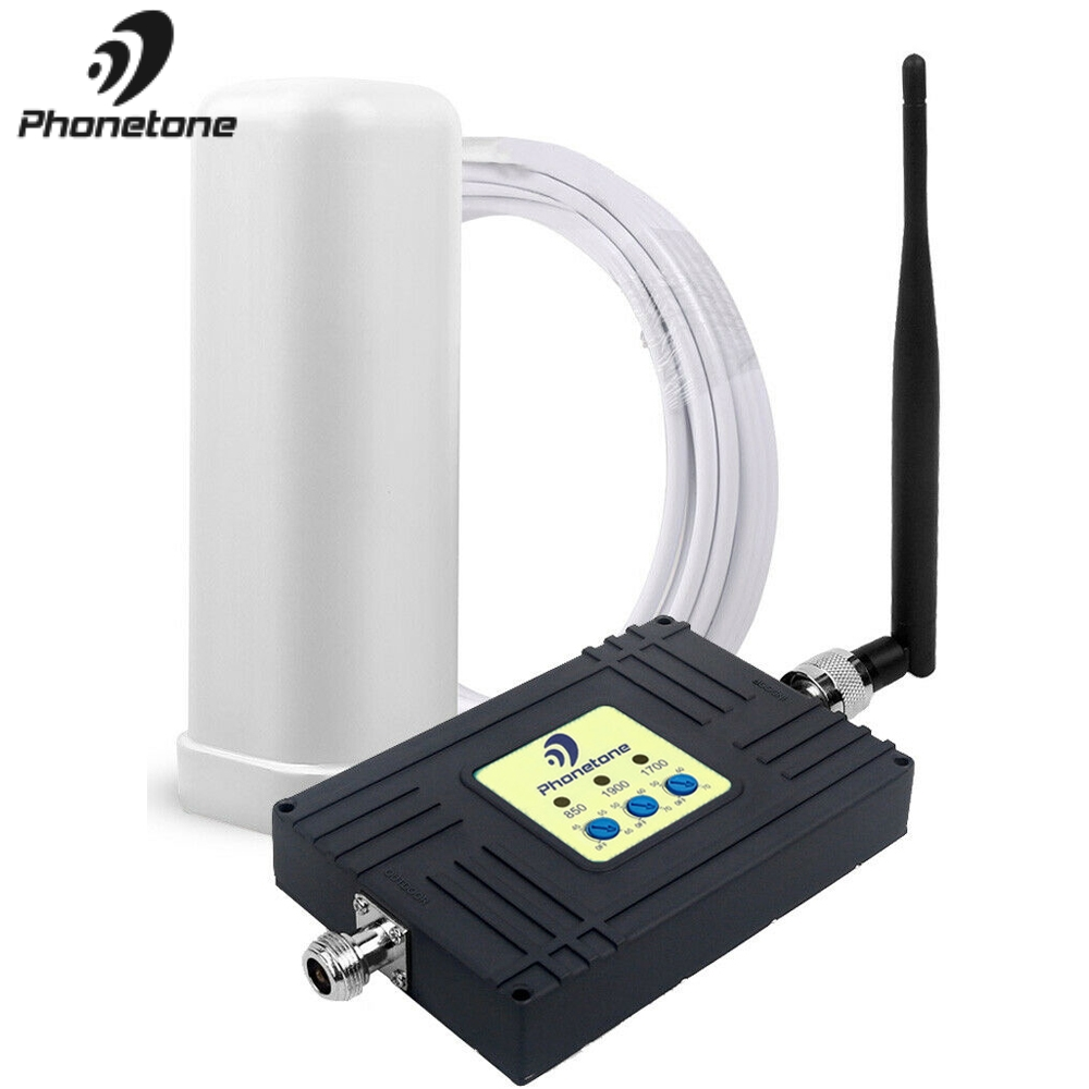 Chile Tri-Band Cell Phone Signal Booster 4G LTE Amplifier 850/1700/1900MHz 70dB 2G 3G 4G GSM Repeater Mobile Network Booster Set