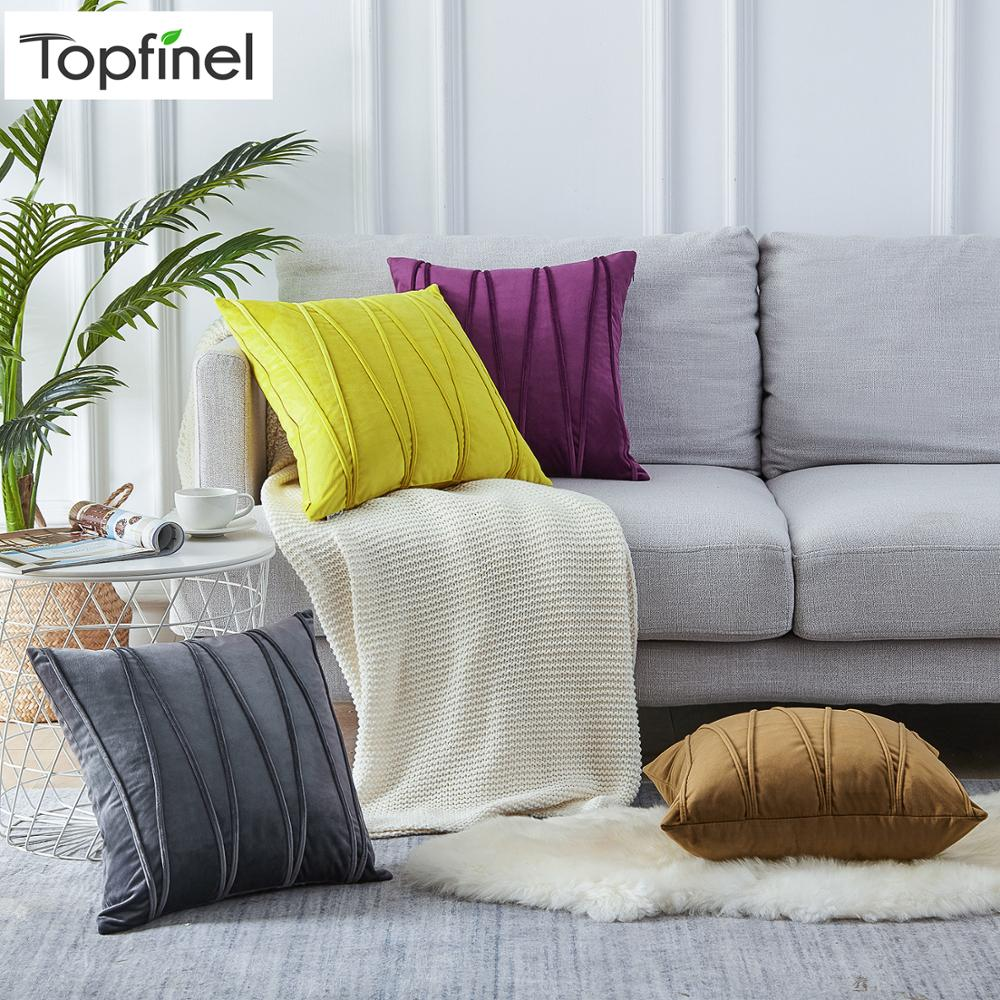 Topfinel Soft  Luxury Velvet Striped Cushion Covers Solid Colors Decoration Throw Pillowcases For Home Sofa Chair Decor 45x45cm