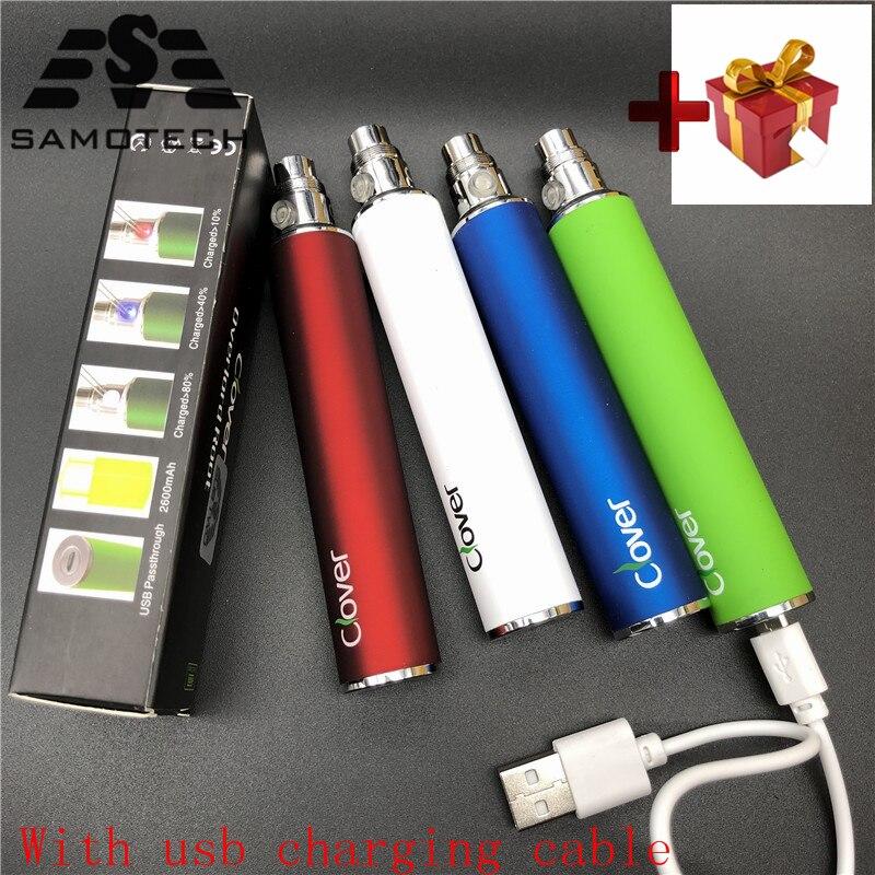2 шт. Клевер 2600 мАч большая емкость 510 нитей электронная сигарета батарея USB проходной vape ручка Клевер корень VS батарея ego-t