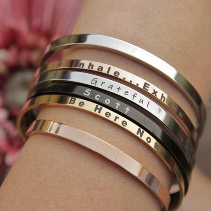 Customized Nameplate Name Bracelet & Bangle Personalized Custom Cuff Bangles Women Men Rose Gold Jewelry Gift To Best Friends