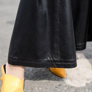 Image 5 - למעלה באיכות עור כבש מכנסיים נשים סתיו חורף Loose רחב רגל מכנסיים Streetwear בציר שחור אלסטי מותניים משרד ליידי מכנסיים