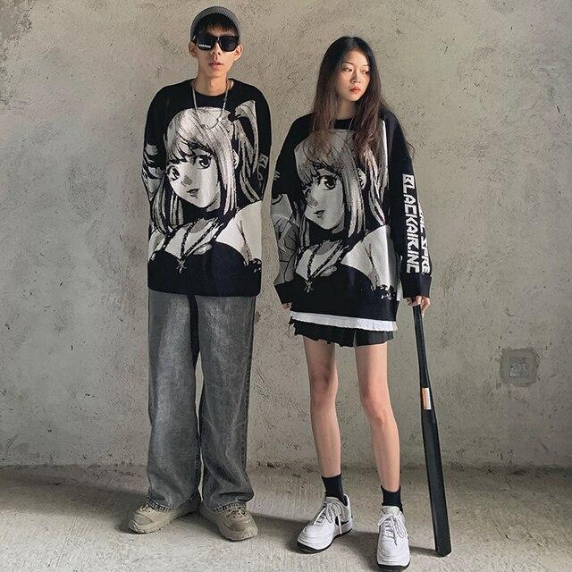 Mens Hip Hop Streetwear Harajuku hoodies Vintage Retro Japanese Style Anime Girl Printed Sweater 2021 Autumn polyester Pullover 1