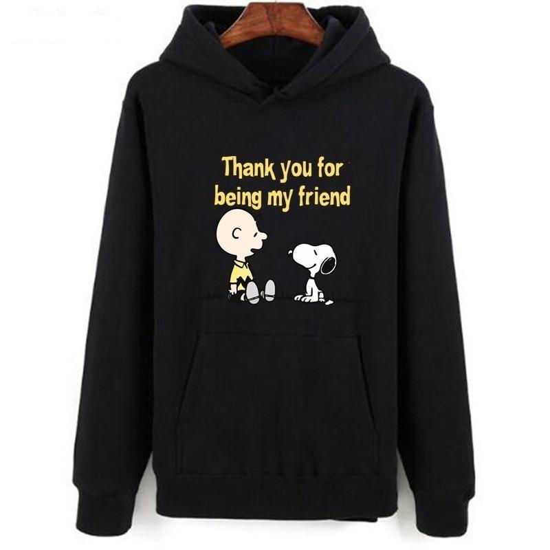 Snoopy Printed Thanksgiving Day Women Sweatshirts  Long Sleeve Black Autumn Casual Hoodies Tops