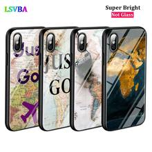 цена Black Cover World Map Just Go Travel for iPhone X XR XS Max for iPhone 8 7 6 6S Plus 5S 5 SE Super Bright Glossy Phone Case