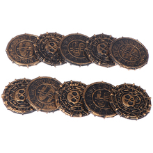 10pcs Plastic Pirate Treasure Coins Party Props Christmas Gift Game Currency Halloween Party Supplies Children's Toys