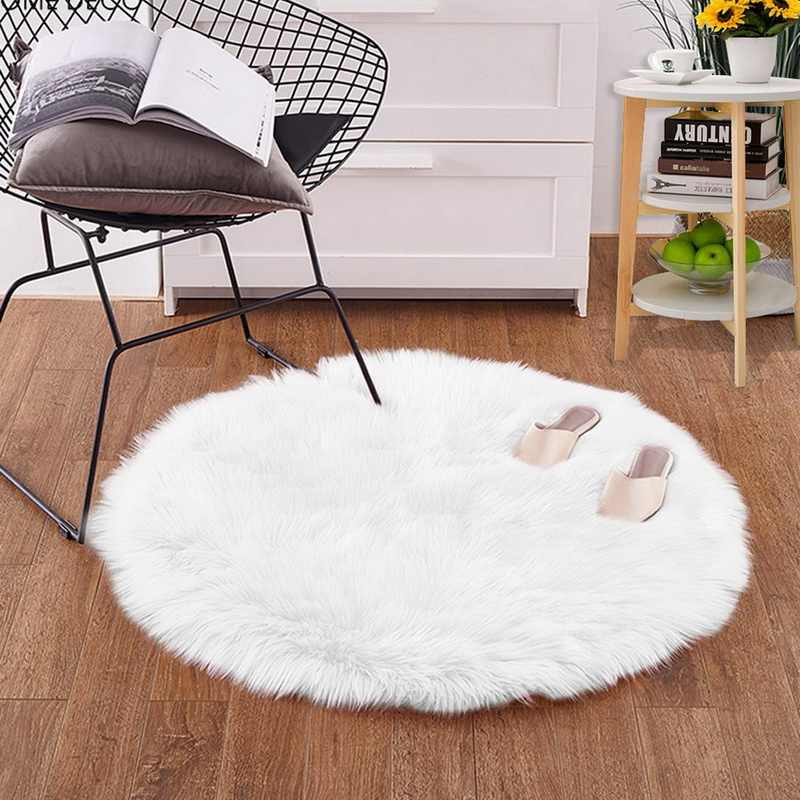 DIDIHOU Pink Soft Faux Fur Carpet Living Room Artificial Sheepskin Carpets Bedroom Cover Mattress Xmas Door Round Rugs Carpets