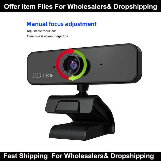 1080P Webcam avec Microphone Full HD vidéo Web Cam ordinateur périphérique USB Web caméra pour Youtube PC portable en direct vidéo trépieds