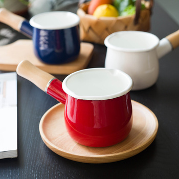 MDZF SWEETHOME 500ml Milk Pot With Wooden Handle Enamel Butter Coffee Mini Saucepan Cookware Pan For Gas Cooker Kitchen Tool