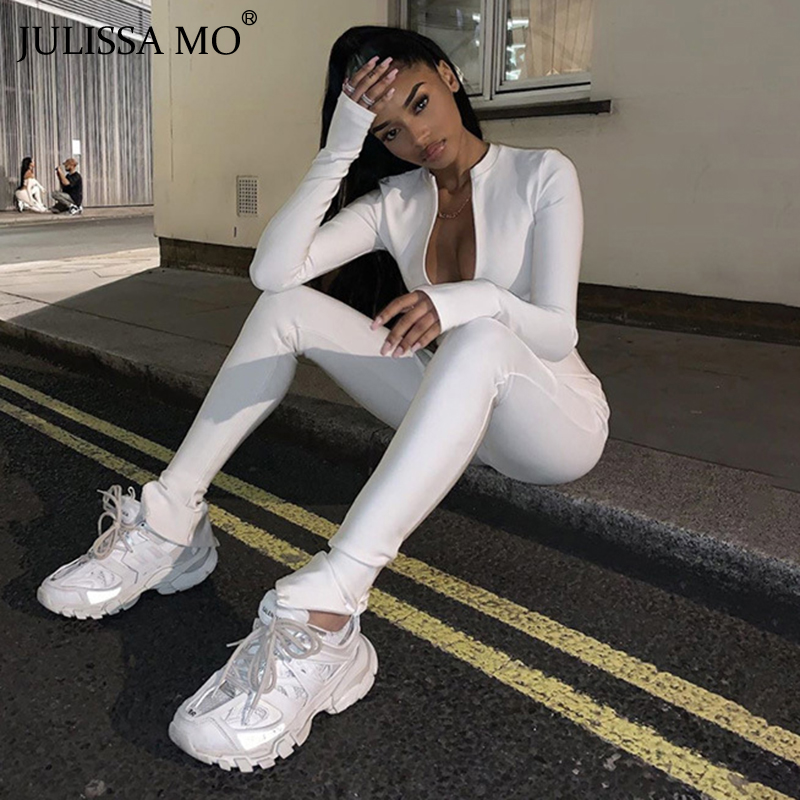 JULISSA MO Casual Fitness Sporty Long Jumpsuit Women Sexy Black High Waist Bodycon Overalls Skinny Zipper Rompers Streetwear