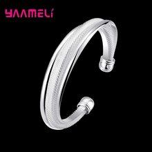 Luxe S925 en argent Sterling ouverture manchette bracelets Bracelet pour les femmes mode bijoux réglable créatif anniversaire cadeau