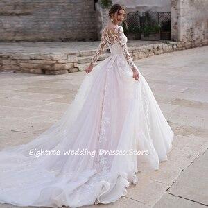 Image 3 - Eightree mangas compridas princesa vestido de casamento 2020 renda tule praia vestido de noiva organza ilusão sem costas apliques vestidos de casamento
