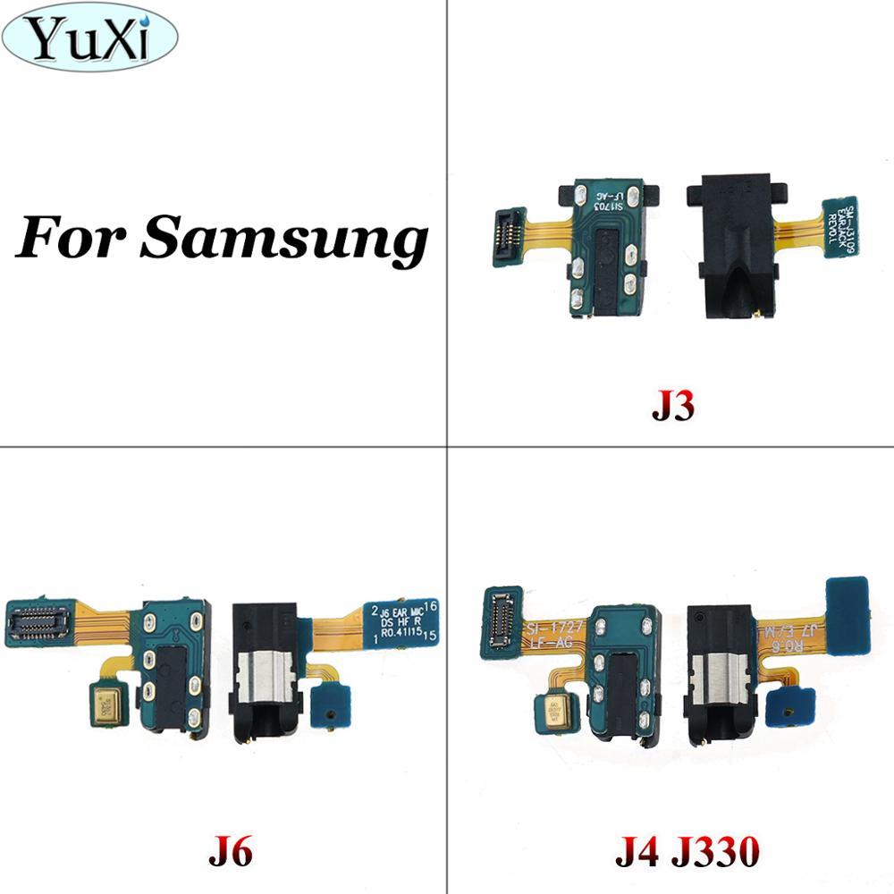 YuXi For Samsung Galaxy J3 J4 J6 2018 J600F J400 J400F J330 Earphone Jack Headphone Audio Microphone Flex Cable Audio Jack Flex