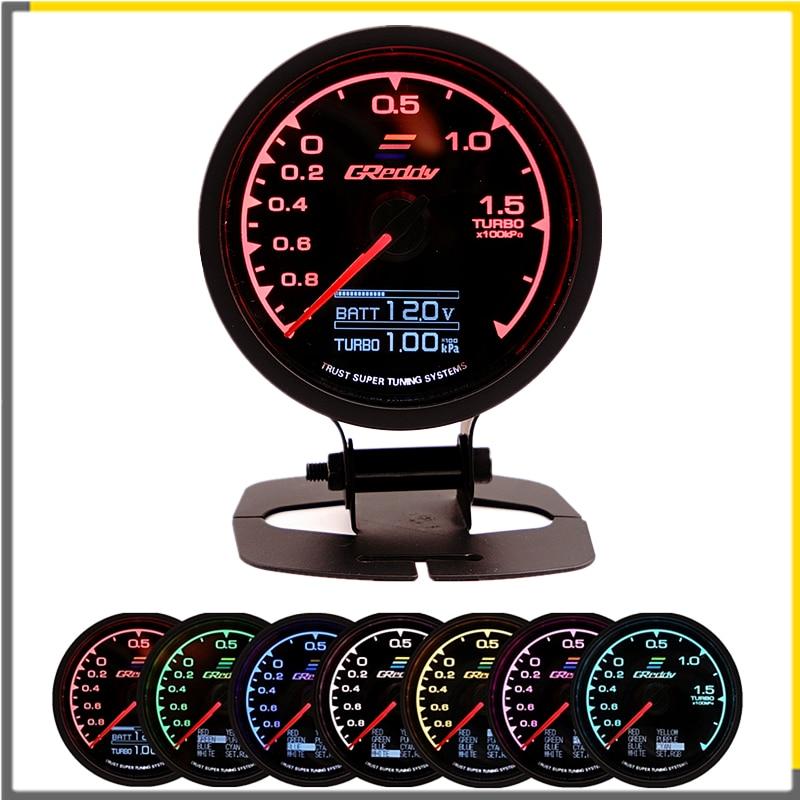 Racing Gauge GReddi Multi D/A LCD Digital Display Turbo Boost Gauge Auto Gauge 2,5 Zoll 62mm 7 farbe in 1