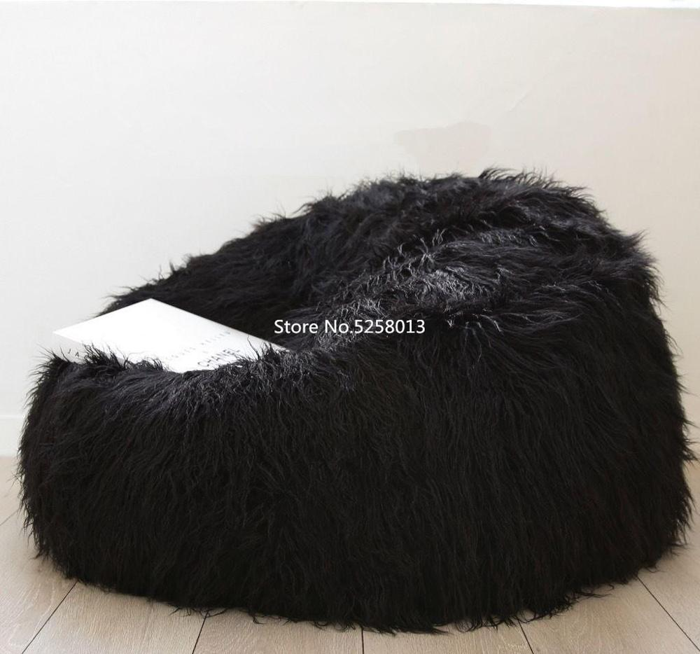 Black Long Fur Beanbag Couch, Fur Espreguiadeira , Fur Living Room Lounger