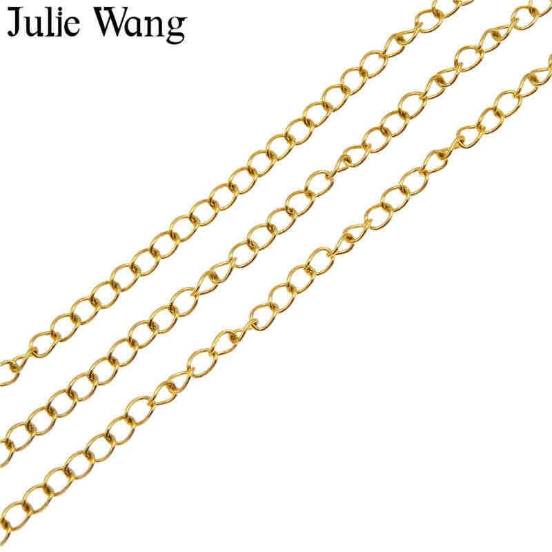 ג 'ולי וואנג 1 מטר נירוסטה קישור שרשרת זהב לבן K צבע שרשרת שרשרת צמיד צמיד DIY תכשיטי ביצוע אבזר