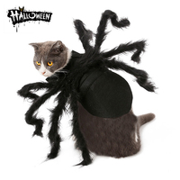 5PC Halloween Pet Spider Clothes Puppy Plush Spider Cosplay Costume For Cats Party Cosplay Funny Outfit Simulation Black Spider