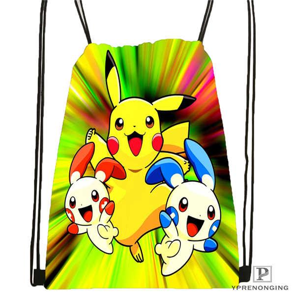 Custom Pikachu-and-Friends-under-the-sea-2 Drawstring Backpack Bag Cute Daypack Kids Satchel (Black Back) 31x40cm#20180611-02-97