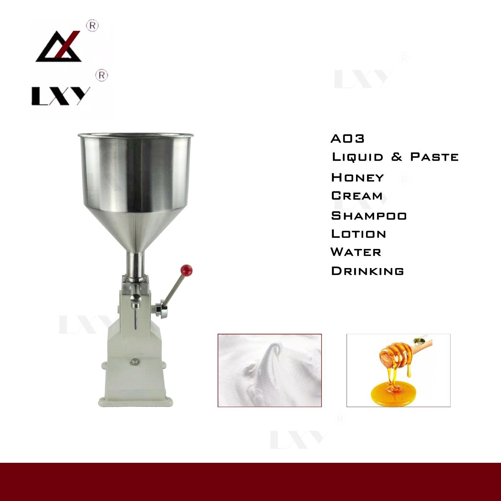 A03 manual da máquina de enchimento do xampu do polonês do prego manual 5 50 50ml para o enchimento líquido cosmético do óleo da pasta do champô do creme