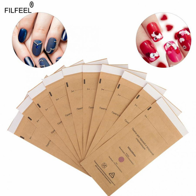 10Pcs Disposable Sterilization Cosmetics Nail Tool Bag Gel Polish Remover Cleaning Cotton Pad Swab