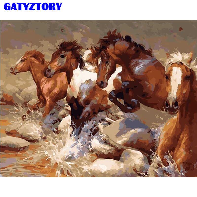 فرملس دهان داي بواسطة أرقام الحيوانات زيتية لشكل الحصان اللوحة ل غرفة المعيشة الحديثة المنزل جدار الفن المطبخ جدار ديكور أون قماش