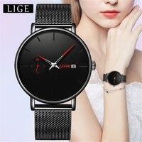 LIGE nowe mody kobiet zegarki Top marka luksusowy stalowy pasek ze stali nierdzewnej zegarek dla kobiet wodoodporny zegarek kwarcowy kobiet
