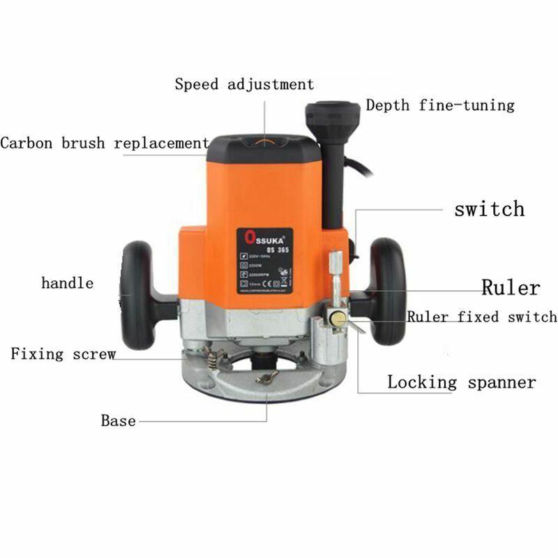 Tondeuse à bois à Base fixe 2200W 220V fraiseuse à bois électrique - 3