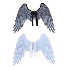 Childrens Black White Costume Feather Angel Wings Unisex Toys Halloween Boy Girl Child Decoration