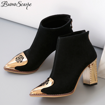 Buono Scarpe Pointed Toe Women Ankle Boots Zipper Real Leather Short Boots Chuky High Heel Boots Metal Fretwork Flower Toe Shoes