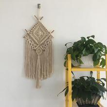 Tapeta w stylu boho Wall Hanging Handwoven bawełniany gobelin do dekoracji wnętrz dekoracja wnętrz tanie tanio 100 bawełna Przędzy barwionej Europa Stałe Szydełkowane Rectangle