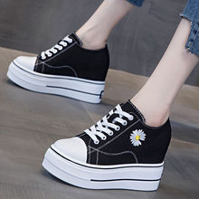 Height Increasing Insole Canvas Shoes Women's 2021 New Casual Sneakers All-Matching Little Daisy Platform Thick Bottom Shoes