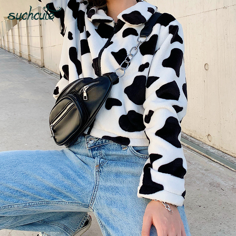 SUCHCUTE Fur Coats For Women Cow Print Teddy Jacket Modis Longslive Zipper Casual Warm Autumn Winter 2019 Harajuku Coat Female